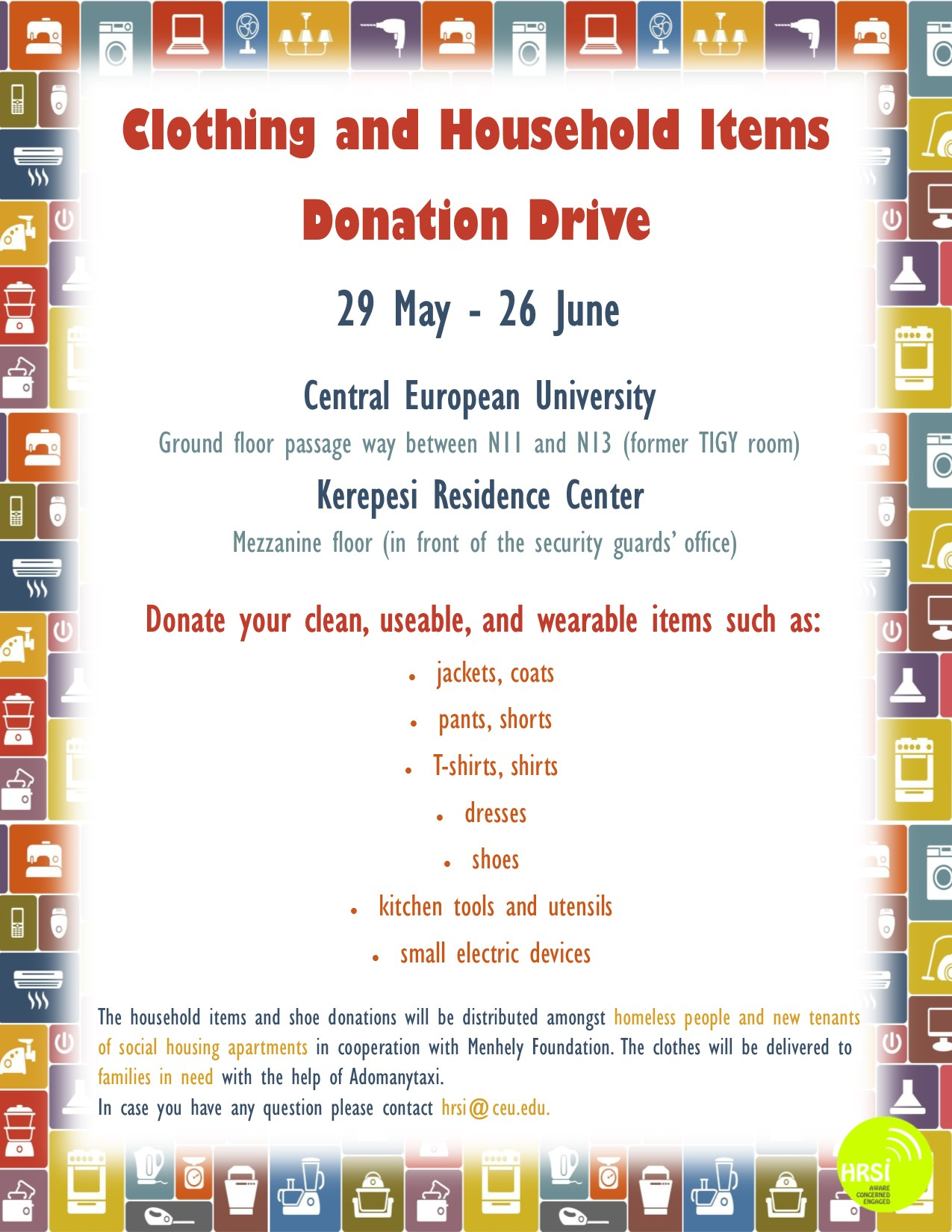 household items and clothing donation drive central european university. Black Bedroom Furniture Sets. Home Design Ideas