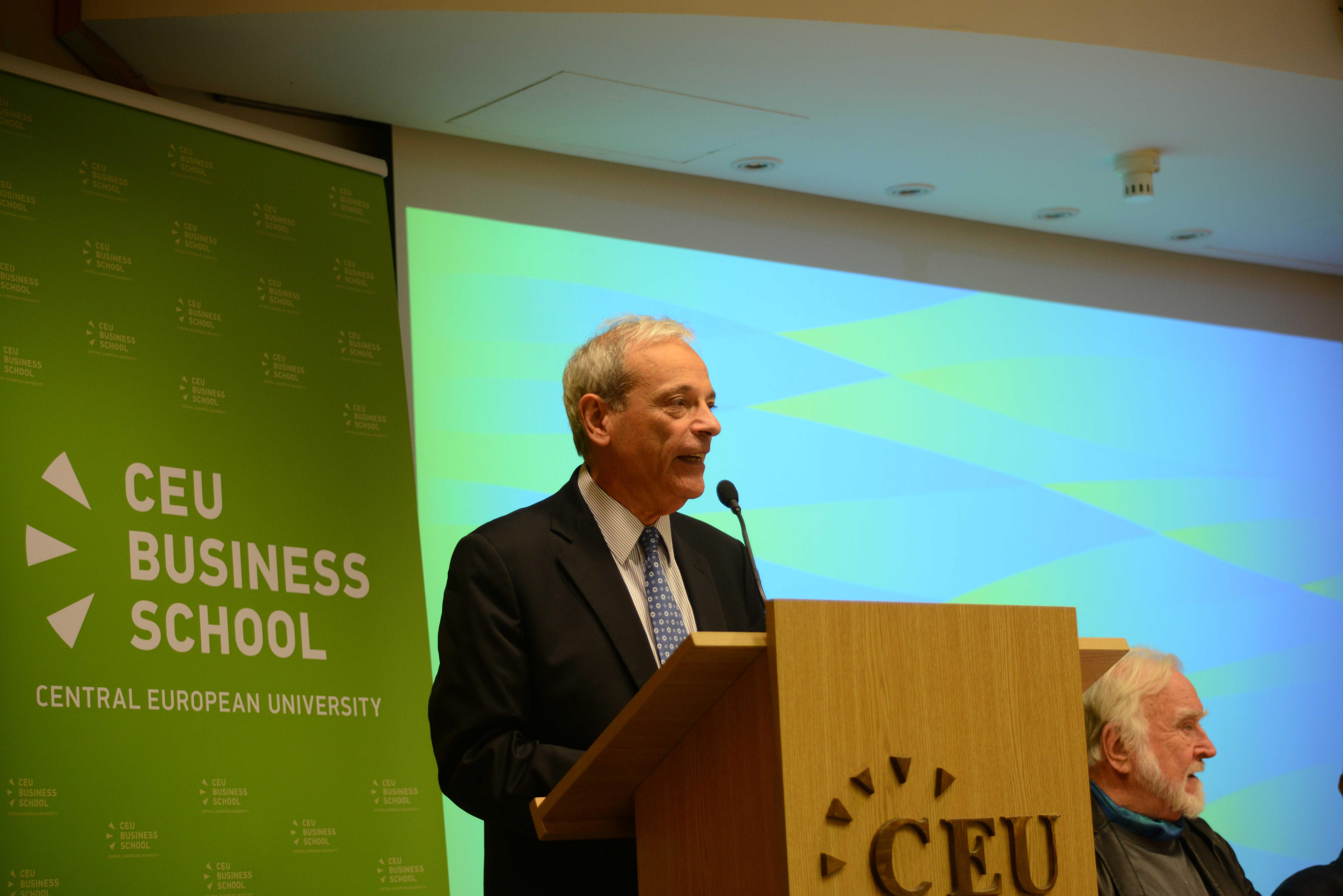 CEU Business School Dean Mel Horwitch, with Mihaly Csikszentmihalyi. Photo: Edina Ligeti.