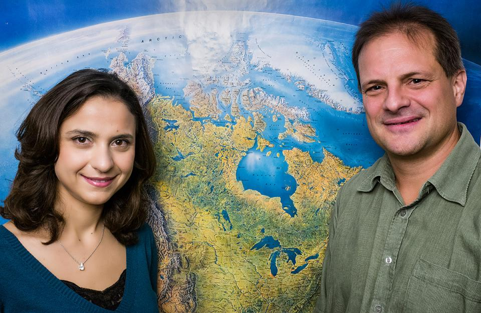 PhD candidate Diane Matar and Associate Professor Brandon P. Anthony. Photo: CEU/Daniel Vegel.
