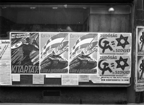 Arrow Cross Party posters. Image credit: Fortepan / Donor.