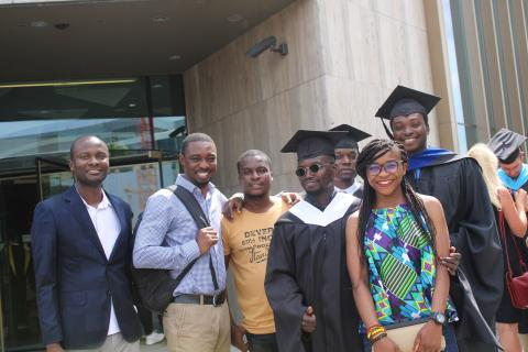 Stephen Awoyemi (second from left) during the 2019 CEU graduation ceremony.