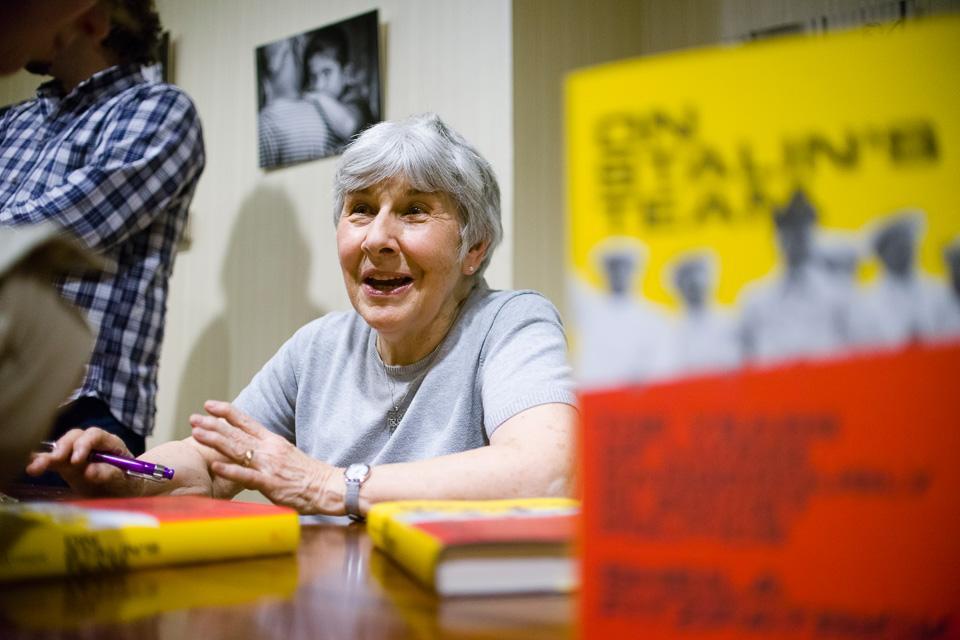 "Sheila Fitzpatrick signing her book ""On Stalin's Team"". Image credit: CEU/Daniel Vegel"