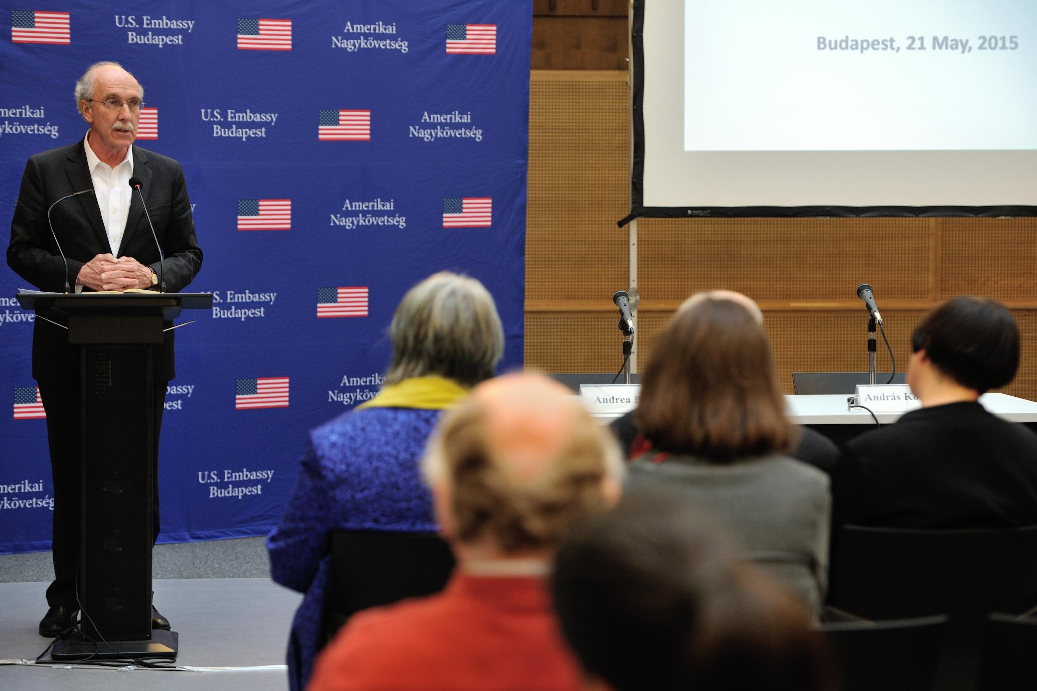 """CEU President and Rector John Shattuck at the book launch of  """"The Future of Holocaust Memorialization"""" at CEU. Image credit: U.S. Embassy"""