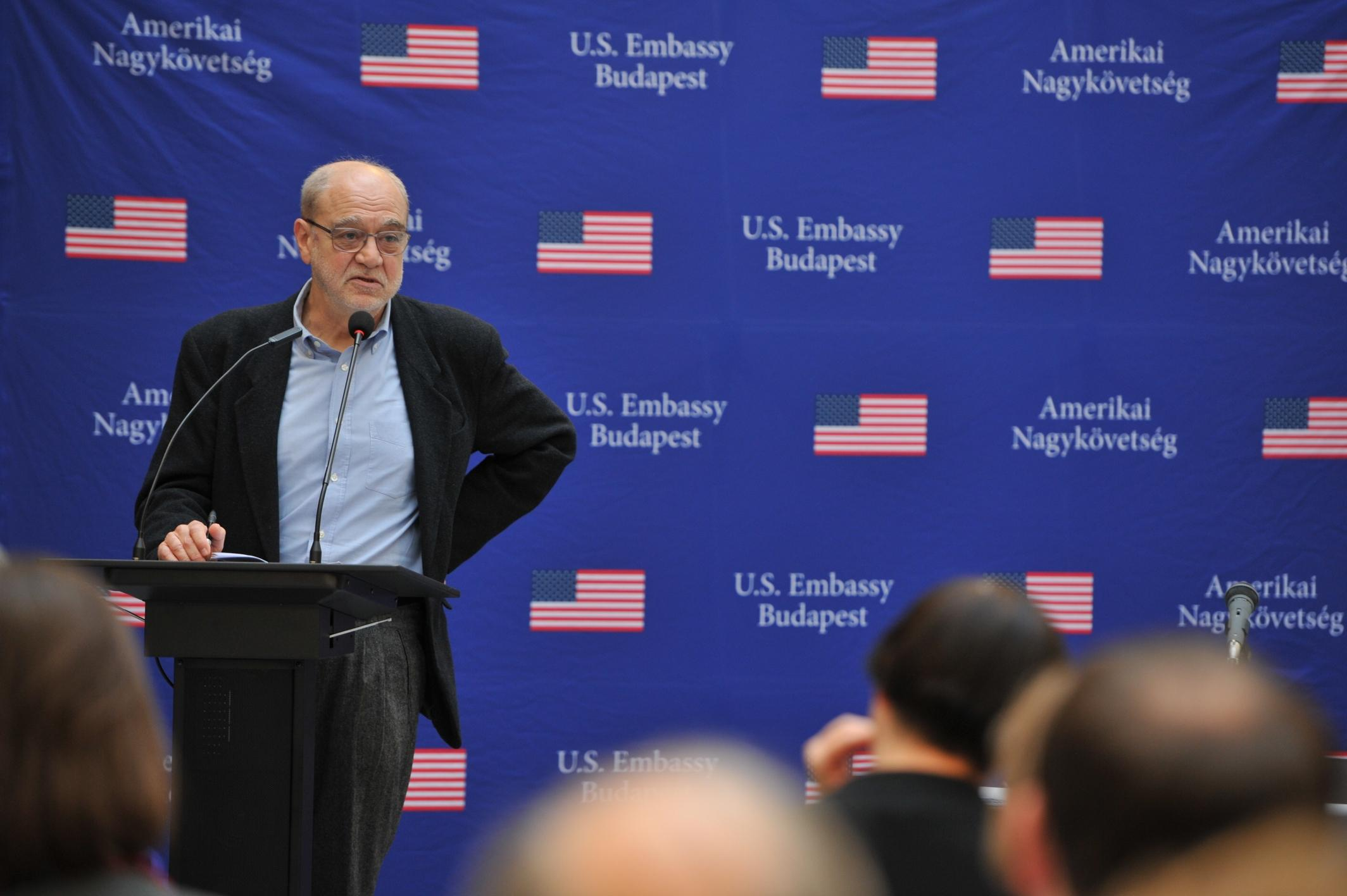 """Professor Andras Kovacs, Director of Jewish Studies at CEU's Department of History at the book launch of  """"The Future of Holocaust Memorialization"""" at CEU. Image credit: U.S. Embassy"""
