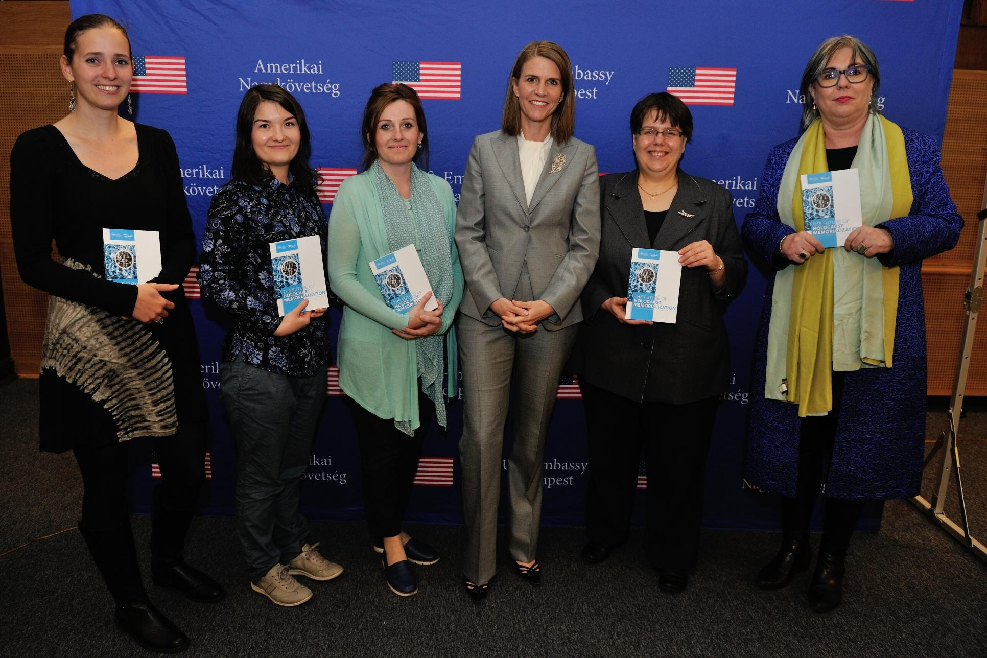 "Colleen Bell, Andrea Peto and Helga Dorner with contributors of the book ""The Future of Holocaust Memorialization"""