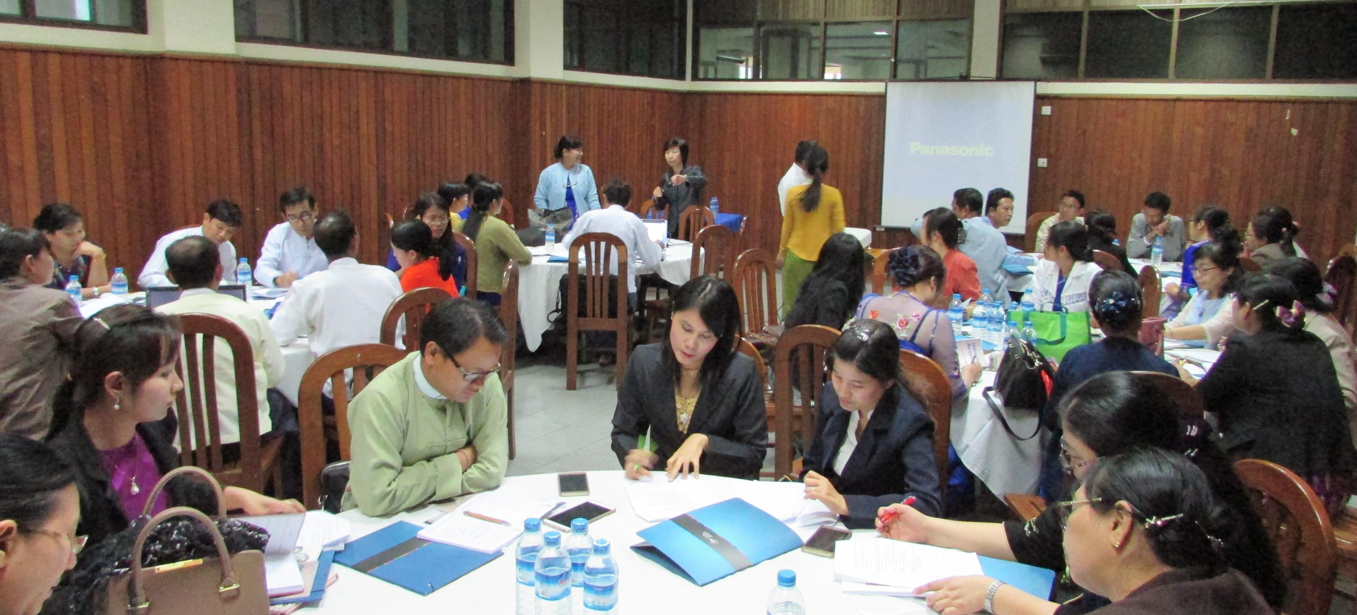 Breakout session of the workshop organized by CEU, Diamond Jubilee Hall, Yangon, January 2017