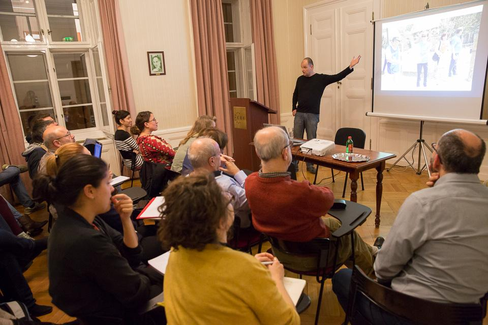 Menedek's Andras Kovats talking at a public lecture organized by CEU's Nationalism Studies Program. Image credit: CEU