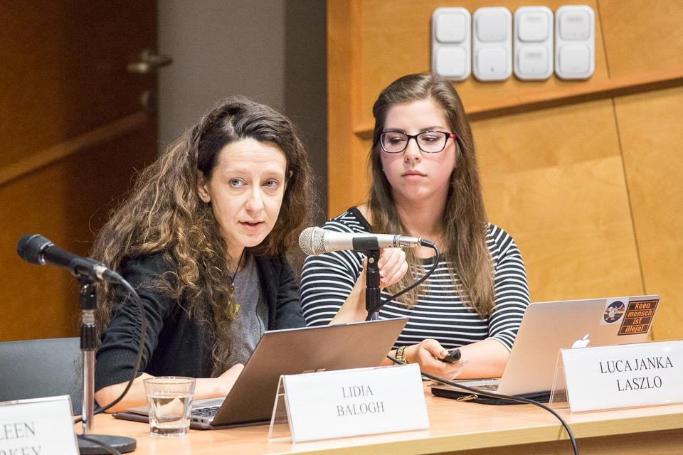 Lidia Balogh and Luca Laszlo spoke about the special needs of refugee women. Image credit: CEU
