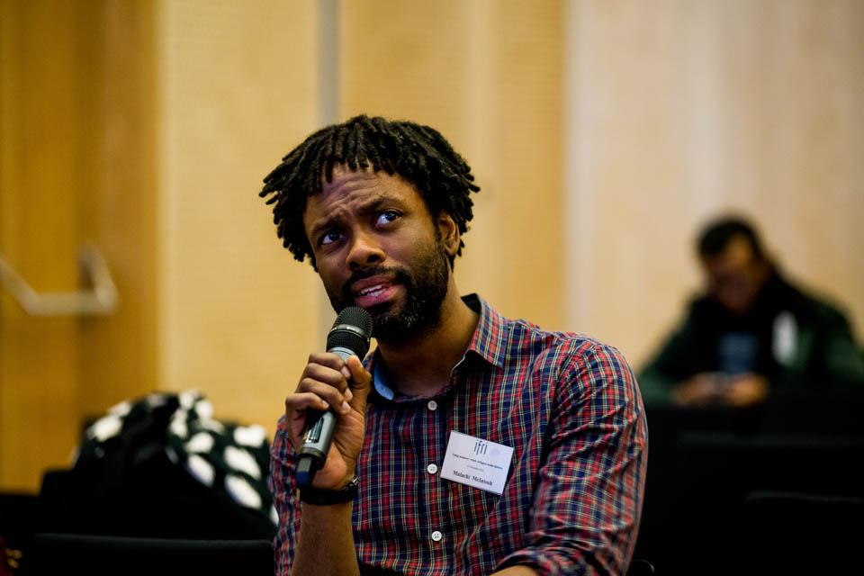 Malachi McIntosh during a Q&A session. Image credit: CEU / Zoltan Tuba