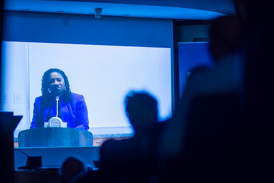 Sherrilyn Ifilll, president and director-counsel of NAACP Legal Defense and Educational Fund, delivered her keynote speech via video message. Image credit: CEU, Daniel Vegel