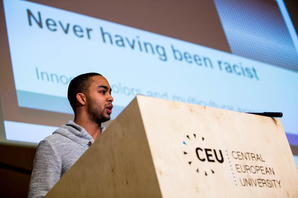 Yannick Coeders at CEU's Conference on the History of Migration. Image credit: CEU / Zoltan Tuba