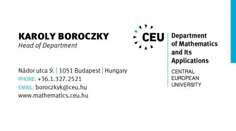 Mathematics business card (Karoly Boroczky)